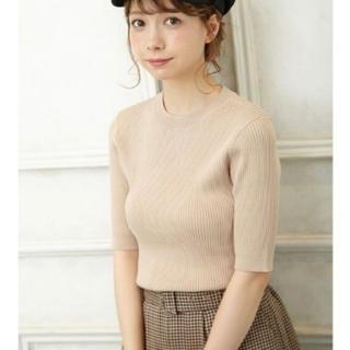 INGNI - C・12GRY/NYリブつまり衿5分袖ニット