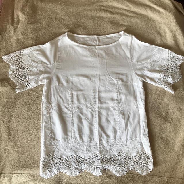 IENA SLOBE(イエナスローブ)のSLOBE IENA ケミカルレース スカラ 5分袖 ブラウス レディースのトップス(シャツ/ブラウス(半袖/袖なし))の商品写真