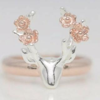 鹿とお花のリング【大きめ】(リング(指輪))