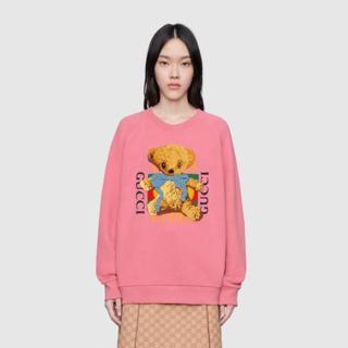 グッチ(Gucci)のGUCCI ロゴ&テディベア オーバーサイズ スウェットシャツ(トレーナー/スウェット)