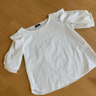 シマムラ(しまむら)の袖シースルートップス 白(カットソー(半袖/袖なし))