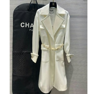 CHANEL - Chanel シャネル トレンチコート ジャケット ホワイト ベルト付き