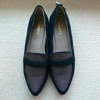シマムラ(しまむら)のローファー スエード ブラック×ブラウン パンプス Mサイズ程度 しまむら(ローファー/革靴)