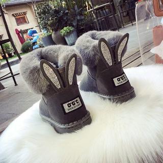 ランダ(RANDA)のファーラビットムートンブーツ☆冬靴グレー黒茶韓国ファッション45(ブーツ)