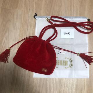 FEILER - 70周年記念、手つき巾着、ショルダー、赤