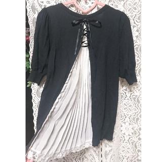 ローズバッド(ROSE BUD)のローズバッド 編み上げ バックリボンプリーツレース(カットソー(半袖/袖なし))