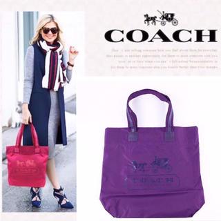 COACH - 【新品未使用】 COACH コーチ 紫 ナイロン×本革レザートート
