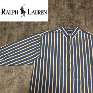 Ralph Lauren - 【激レア】ラルフローレン☆ワンポイントカラーポニー刺繍ストライプシャツ 90s