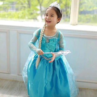 【大人気】アナ雪エルサ風 ドレス 衣装 プリンセス  110cm(ワンピース)