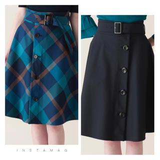 バーバリーブルーレーベル(BURBERRY BLUE LABEL)の新品タグ付き ブルーレーベル クレストブリッジ リバーシブル チェック スカート(ひざ丈スカート)