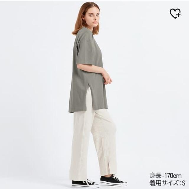 UNIQLO(ユニクロ)の美品 UNIQLO ユニクロ トップス Tシャツ チュニック 半袖 白 L レディースのトップス(Tシャツ(半袖/袖なし))の商品写真