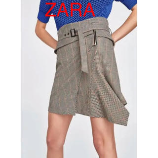 ザラ(ZARA)のZARAザラ 新品タグ付き ベルト付きミニスカート(ミニスカート)