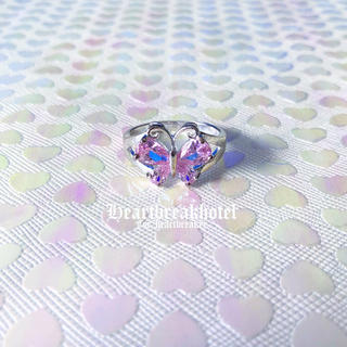 ️♥️ Vintage Silver Pink Butterfly Ring(リング(指輪))