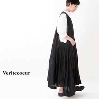 ヴェリテクール(Veritecoeur)の新品VC-1717 ヴェリテクール 3wayコットンギャザーリボンワンピース 黒(ロングワンピース/マキシワンピース)