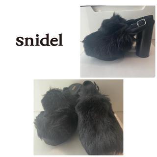 snidel - スナイデル ブラックファーサンダル