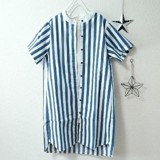 merlot - ◇Fillil◇青✖️白◇ストライプ柄★スタンドカラー半袖シャツワンピース