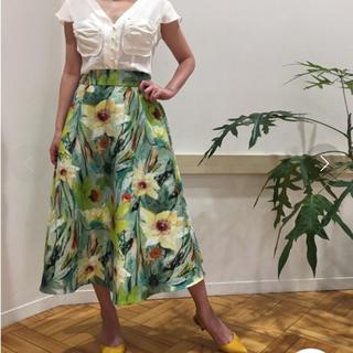 DOUBLE STANDARD CLOTHING - Sov. オリジナルフラワー柄バックサテンスカート