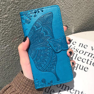 オシャレ♡蝶々 iPhoneケース 手帳型カバー ブルー