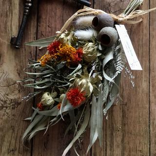 ユーカリさんとユーカリの実と紅花のスワッグ(ドライフラワー)