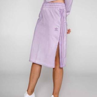 アディダス(adidas)の新品 アディダス adidas タイトスカート ライン スリット パープル 紫(ひざ丈スカート)