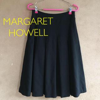 MARGARET HOWELL - MHL,マーガレットハウエル プリーツスカート ブラック