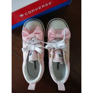 CONVERSE - 美品☆コンバース リボン付きキッズスニーカー 18㎝ ピンク