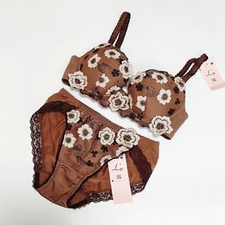 ワコール(Wacoal)のWacoal L'ge(D65)M ブラジャー&ショーツ 茶色花柄 5496(ブラ&ショーツセット)