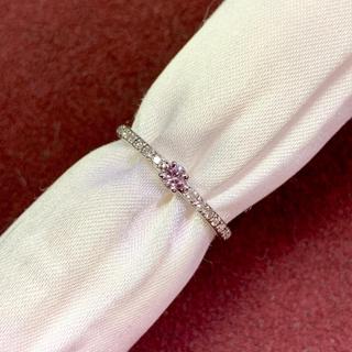 新品 サイズ直し無料 パープリッシュピンクダイヤ プラチナリング(リング(指輪))
