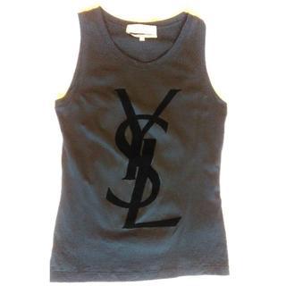 サンローラン(Saint Laurent)の美品イヴサンローラン ノースリーブTシャツ 黒Sサイズ(Tシャツ(半袖/袖なし))