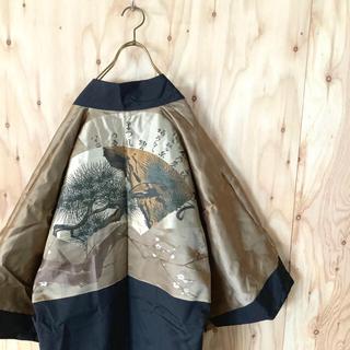 極美品 奇抜 HAORI 和モード デザイン羽織 梅松刺繍 傾奇者 モードMIX(着物)