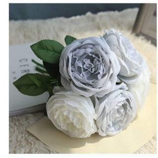 アーティフィシャルフラワー バラ 薔薇 ブルー シルクフラワー 造花 ブーケ(その他)