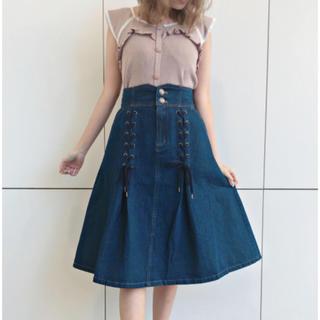 リズリサ(LIZ LISA)のレースアップデニムスカート(ひざ丈スカート)