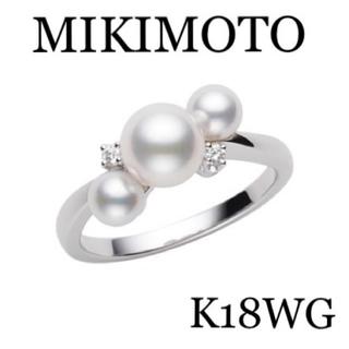 MIKIMOTO - 現行品 MIKIMOTO K18WG アコヤパールダイヤモンドリング