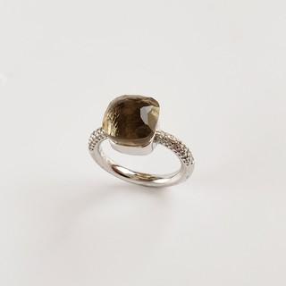 ドゥロワー(Drawer)のカラーストーン リング    グレー/ホワイト(リング(指輪))