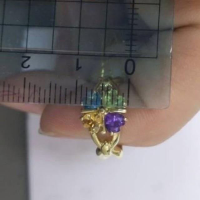 ✨used特別価格✨K18マルチカラーリング《四つ葉のクローバーモチーフ》 レディースのアクセサリー(リング(指輪))の商品写真