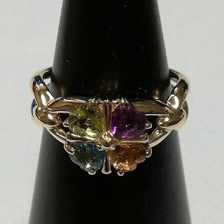 ✨used特別価格✨K18マルチカラーリング《四つ葉のクローバーモチーフ》(リング(指輪))