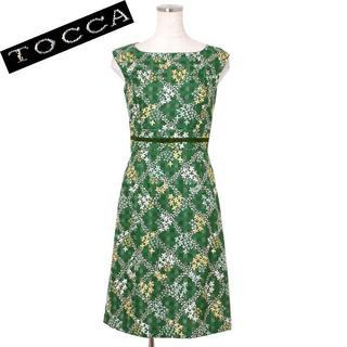 トッカ(TOCCA)のTOCCA フラワー刺繍ワンピース size0 グリーン系 トッカ (その他)