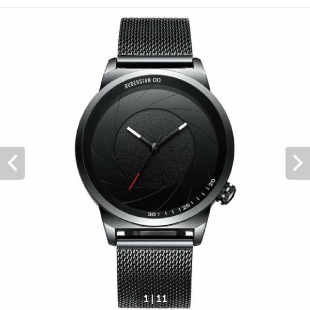 ルビウスタン]RUBEUSTAN 腕時計 メンズ 防水 おしゃれ (ブラック) の通販 by うさぎちゃん's shop|ラクマ