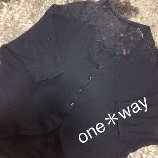 ワンウェイ(one*way)のone*way 黒レースドルマンカーデ♡(カーディガン)