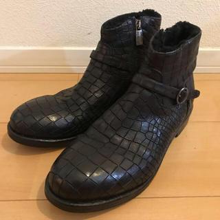 ジョンローレンスサリバン(JOHN LAWRENCE SULLIVAN)のMAURON クロコ型押しボアレザーブーツ 27.0cm  最終値下げ(ブーツ)