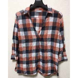 L*夏・初秋*極薄生地に風合いがたまらない七分袖赤チェックシャツ(シャツ/ブラウス(長袖/七分))