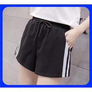 【数量限定】サイドラインパンツ ショートパンツ 黒 2本ライン スポーツ L(ショートパンツ)