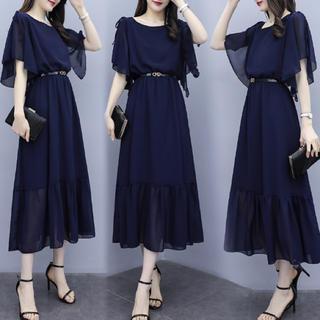 ★[肩リボンドレス  紺]  シースルー ベルト付き!(ロングドレス)