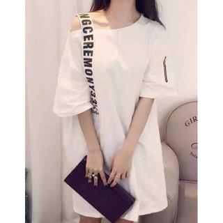 a☆ホワイト☆オーバーサイズ☆オフショルシャツ(Tシャツ(半袖/袖なし))