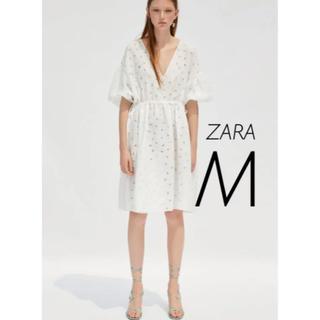 ザラ(ZARA)の【新品・未使用】ZARA コンビオーガンザワンピース M(ひざ丈ワンピース)