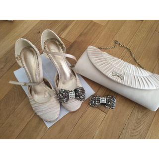 結婚式 バッグ&靴&シューズアクセサリー 3点セット(ハイヒール/パンプス)