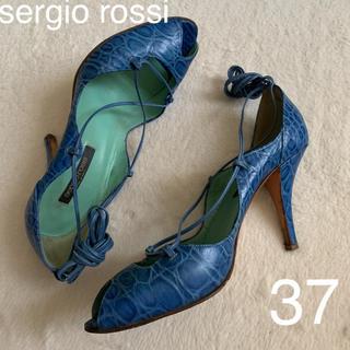 セルジオロッシ(Sergio Rossi)のsergio rossi  型押し 編み上げブルーサンダル37(サンダル)