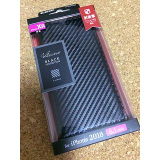 エレコム(ELECOM)のiPhoneXR 手帳型ケース カーボン調 ブラック ソフトレザー スマホ(iPhoneケース)