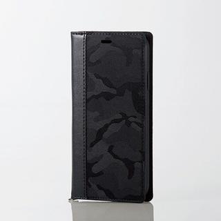 エレコム(ELECOM)のiPhoneXR 手帳型ケース カモフラ ブラック ソフトレザー スマホ(iPhoneケース)
