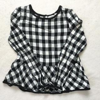 ギャップ(GAP)の#10 140センチ ギャップ 黒と白のチェックのぺプラムカットソー(Tシャツ/カットソー)